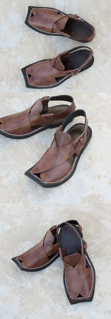 Hanks - Leather Peshawari Sandals for Men in Brown with Impression CS-095