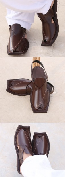 Hanks - Leather Peshawari Sandals for Men in Chocolate Brown CS-055